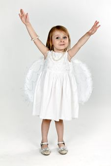 Free Little Girl With Angel Wings In The Studio Royalty Free Stock Photo - 20881255