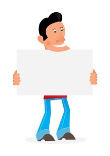 Free Man With A Placard Royalty Free Stock Photos - 20881518