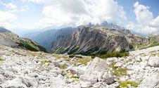 Beautiful Mountain Panorama - Marmolada Glacier Royalty Free Stock Images