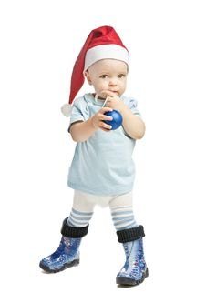 Free Caucasian Baby Boy In A Red Christmas Cap Royalty Free Stock Images - 20883559