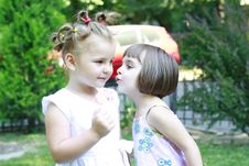 Free Little Girls Whispering To Each Other Royalty Free Stock Image - 20884176