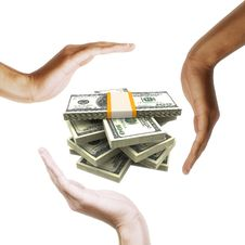 Free Dollar Bills With Multiracial Human Hands Around Royalty Free Stock Images - 20884849