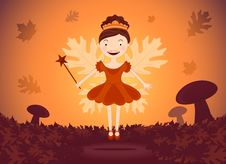 Autumn Fairy In Wood Stock Photography