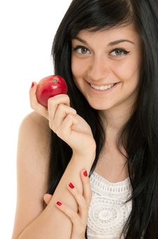 Free Beautiful Brunette Girl With Red Apple Stock Photo - 20885640