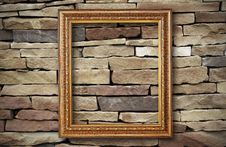 Golden Frame On Old Brick Wall Stock Photos