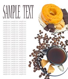 Coffee, Donut, Brown Sugar And Coffee Beans Stock Photos