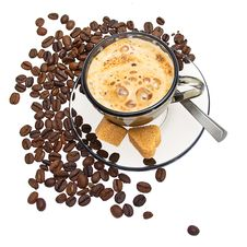 Free Cappuccinot, Brown Sugar And Coffee Beans Royalty Free Stock Photography - 20886027
