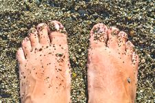 Free Feet On The Wet Shingle Beach Stock Photos - 20886063