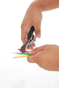 Hand Using Wire Cutter Royalty Free Stock Photos