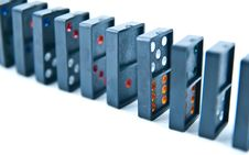 Some Domino Pieces Lined Up Stock Image