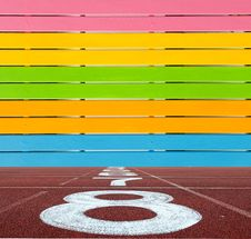 Free Multi Color Wooden Wall With Running Lane Floor Royalty Free Stock Photos - 20889408
