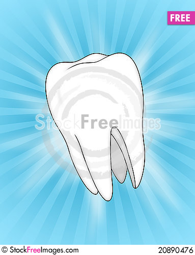 Free Illustration Of A Tooth, On A Blue Slash Backgrou Royalty Free Stock Image - 20890476