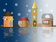 Toy Small Houses In Snow Royalty Free Stock Photos