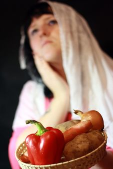 Free Woman With Vegetables Stock Photography - 20890442