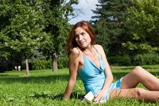 Free Lady Reading The Book In Grass Royalty Free Stock Photography - 20890507