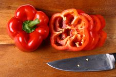 Free Sweet Red Pepper Sliced On Hardboard Royalty Free Stock Photos - 20890688