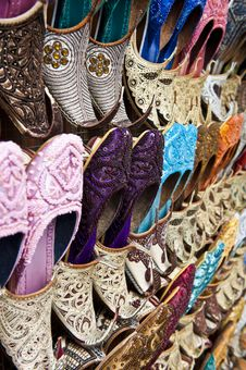 Shoes At The Market Royalty Free Stock Photos