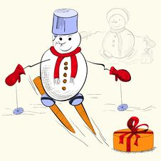 Card With Snowman Stock Image
