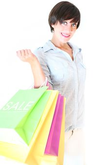 Free Beautiful Girl Holding Colorful Shopping Bags Royalty Free Stock Photo - 20892145