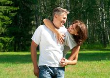 Free Happy Beautiful Couple In Park Royalty Free Stock Photo - 20893355