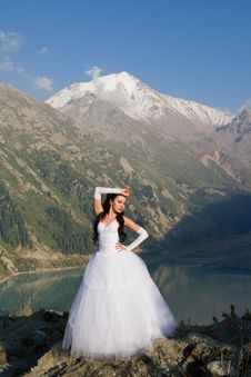 Free Girl In A Wedding Dress On The Nature Royalty Free Stock Image - 20893566