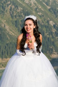 Free Smiling Bride With Flowers In The Mountains Stock Images - 20893824