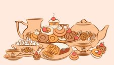Free Vintage Tea Set And Sweet Cakes. Stock Photos - 20895553