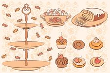 Free Background With Sweet Cakes. Royalty Free Stock Photo - 20895755
