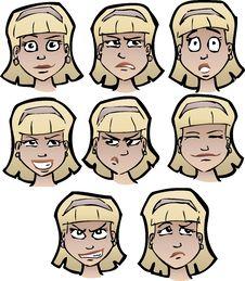 Free Cartoon Faces Female Royalty Free Stock Photos - 20896188