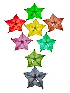 Free Colorful Star Fruit On White Background Stock Photography - 20897202