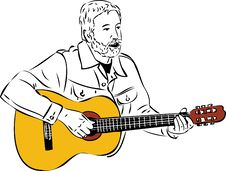 Free Sketch Of A Man With A Beard Playing A Guitar Royalty Free Stock Image - 20897556