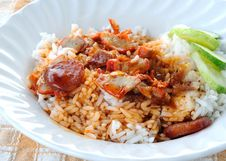 Free Barbuced Red Pork In Sauce With Rice Royalty Free Stock Images - 20897719