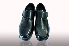 Men S Black Leather Shoes. Royalty Free Stock Photo