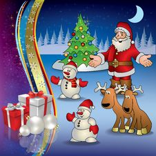 Christmas Greeting With Santa Deer And Gifts Stock Image