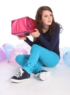 Surprise Mystery Birthday Present For Teenage Girl Stock Photos