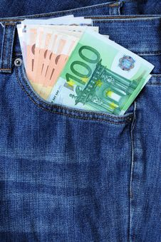 Euro Banknotes In Jeans Pocket Stock Images