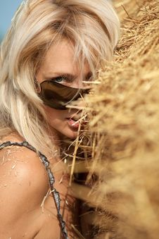 Free Woman  In Hay Stack Stock Photography - 20899052