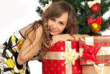Free Girl With Gift Boxes Stock Image - 20899061