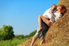 Lovers On Hayloft Stock Photography