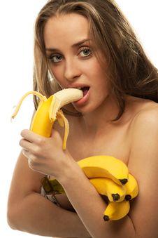 Woman Holding Bananas Royalty Free Stock Photo