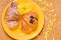 Free Two Croissaints On Yellow Plate Royalty Free Stock Image - 2099826