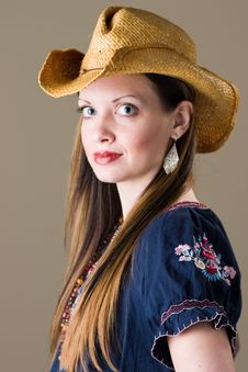 Smiling Girl In Western Outfit Stock Photography