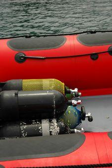 Oxygen Tanks On A Boat Royalty Free Stock Photo