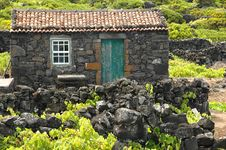 Old Azores Home Built In Stone Stock Photo