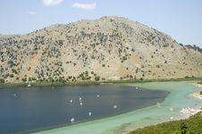 Crete Lake Kournas Royalty Free Stock Images