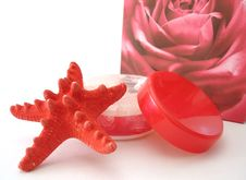 Free Container Of Cosmetic Moisturizing Cream, Seastar And Bag Over W Stock Photo - 2092280