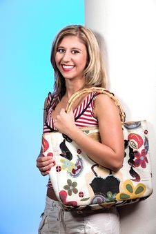 Free Blond With Bag Royalty Free Stock Image - 2093876