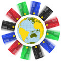 Free Multicolored Bank Cards Around The Earth Royalty Free Stock Image - 20909956