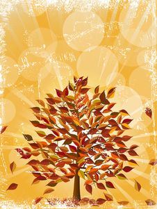 Free Grunge Glowing Autumn Tree Royalty Free Stock Photo - 20900175