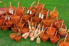 Free Woven Baskets On Green Grass Stock Photos - 20900233